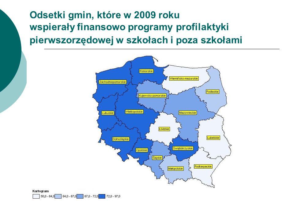 Odsetki gmin, które w 2009 roku wspierały finansowo programy profilaktyki pierwszorzędowej w szkołach i poza szkołami