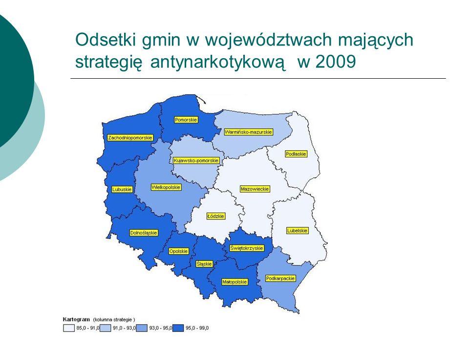 Odsetki gmin w województwach mających strategię antynarkotykową w 2009