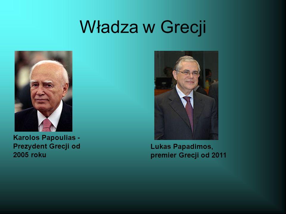 Władza w Grecji Karolos Papoulias - Prezydent Grecji od 2005 roku Lukas Papadimos, premier Grecji od 2011