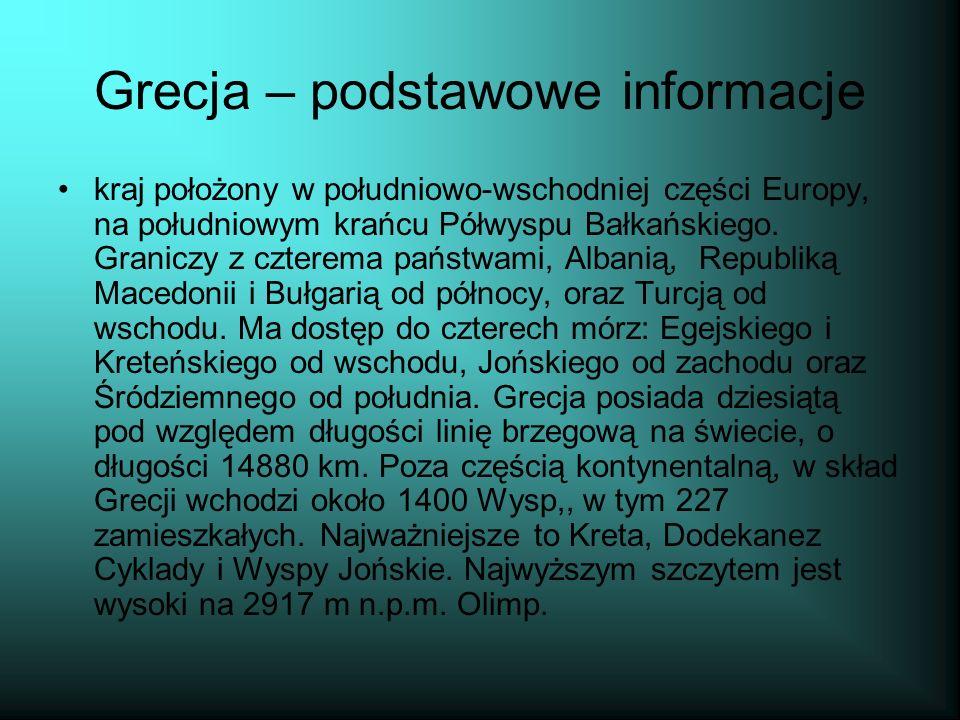 Grecja – podstawowe informacje kraj położony w południowo-wschodniej części Europy, na południowym krańcu Półwyspu Bałkańskiego.