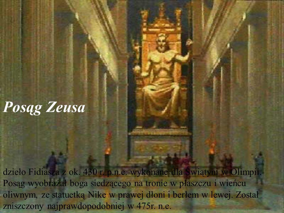 Posąg Zeusa dzieło Fidiasza z ok.430 r. p.n.e. wykonane dla Świątyni w Olimpii.