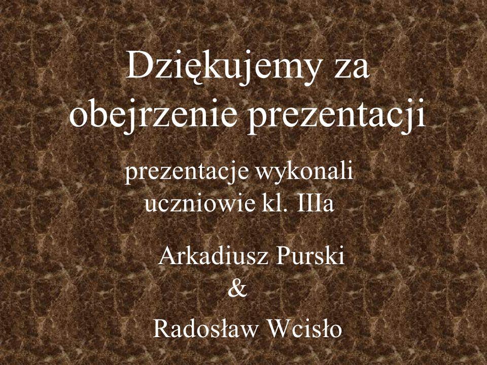 Dziękujemy za obejrzenie prezentacji prezentacje wykonali uczniowie kl. IIIa & Arkadiusz Purski Radosław Wcisło