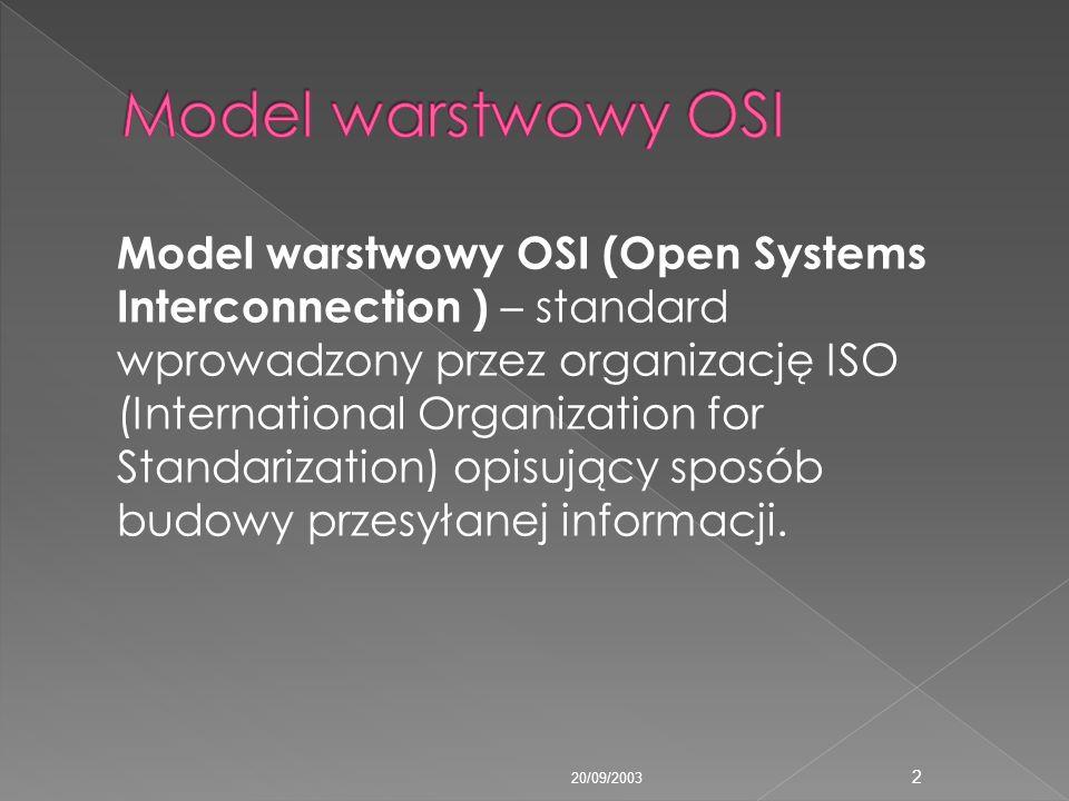 Model warstwowy OSI (Open Systems Interconnection ) – standard wprowadzony przez organizację ISO (International Organization for Standarization) opisu
