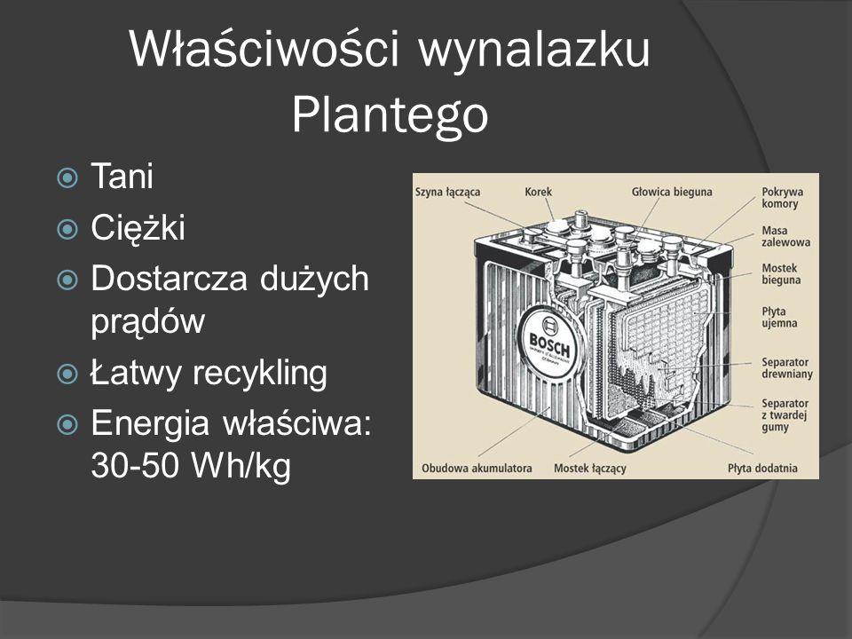 Właściwości wynalazku Plantego  Tani  Ciężki  Dostarcza dużych prądów  Łatwy recykling  Energia właściwa: 30-50 Wh/kg