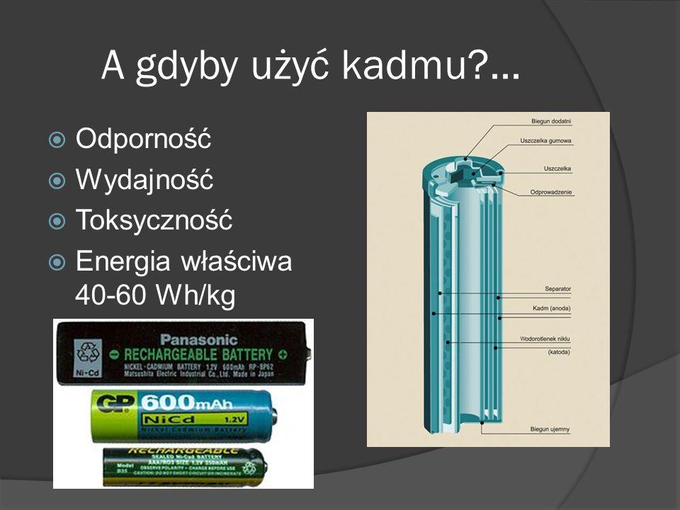 A gdyby użyć kadmu?...  Odporność  Wydajność  Toksyczność  Energia właściwa 40-60 Wh/kg