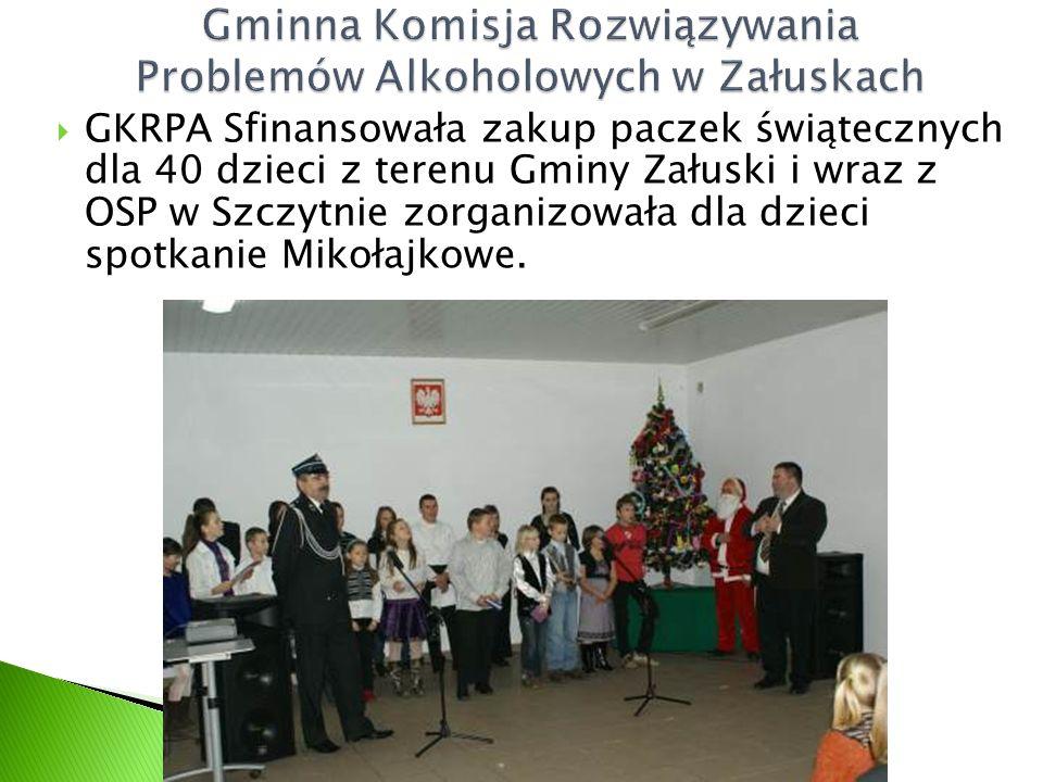  GKRPA Sfinansowała zakup paczek świątecznych dla 40 dzieci z terenu Gminy Załuski i wraz z OSP w Szczytnie zorganizowała dla dzieci spotkanie Mikołajkowe.