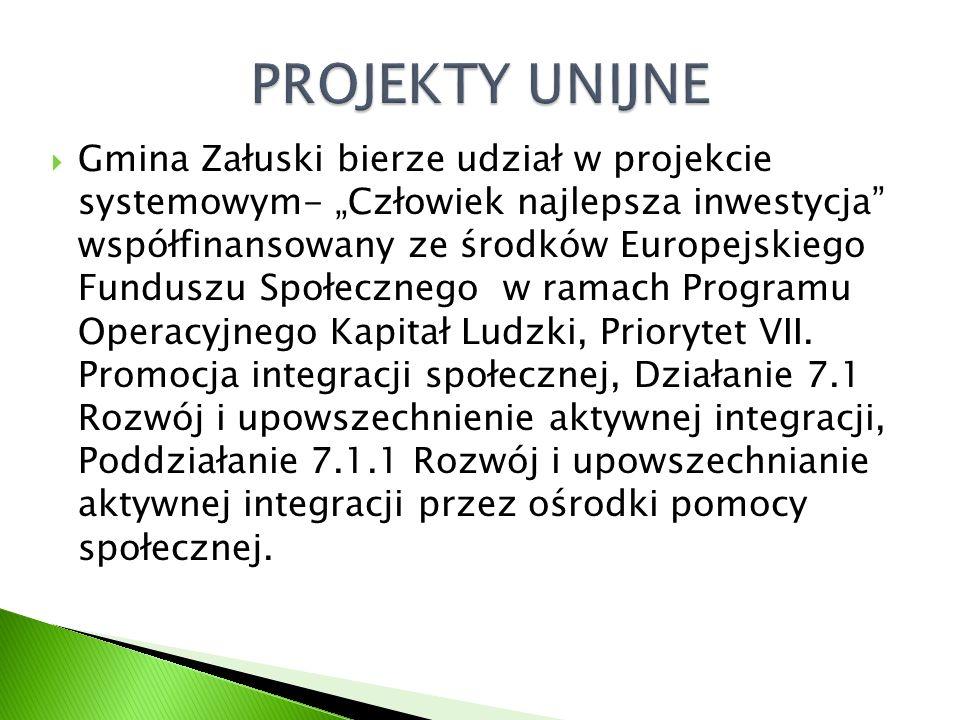 """ Gmina Załuski bierze udział w projekcie systemowym- """"Człowiek najlepsza inwestycja współfinansowany ze środków Europejskiego Funduszu Społecznego w ramach Programu Operacyjnego Kapitał Ludzki, Priorytet VII."""