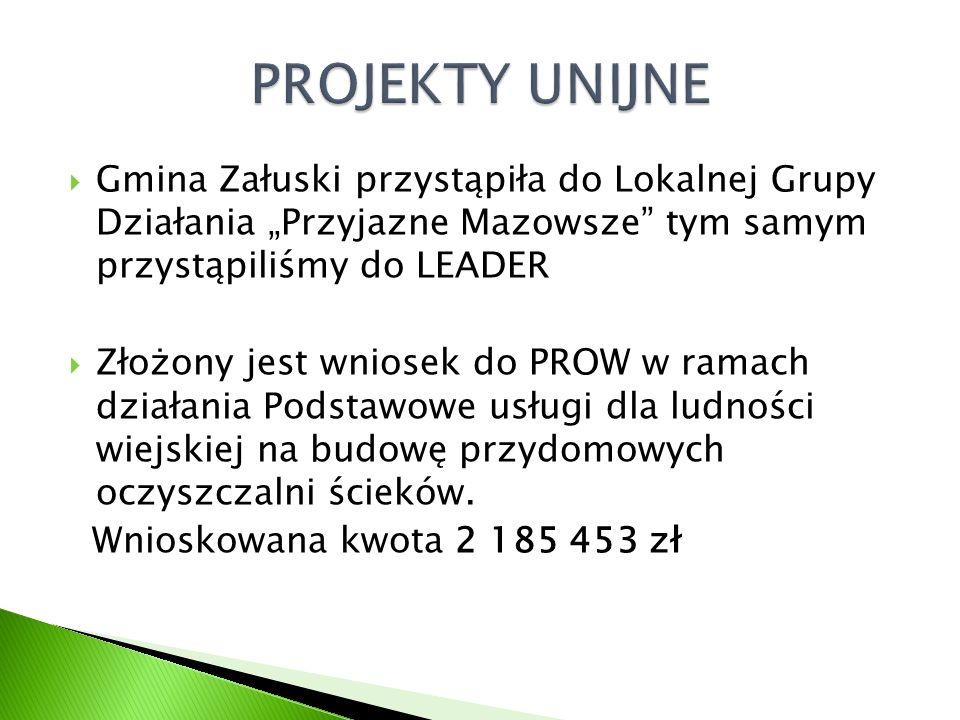 """ Gmina Załuski przystąpiła do Lokalnej Grupy Działania """"Przyjazne Mazowsze tym samym przystąpiliśmy do LEADER  Złożony jest wniosek do PROW w ramach działania Podstawowe usługi dla ludności wiejskiej na budowę przydomowych oczyszczalni ścieków."""