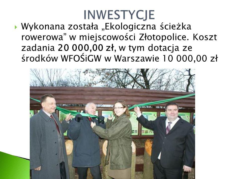 """ Wykonana została """"Ekologiczna ścieżka rowerowa"""" w miejscowości Złotopolice. Koszt zadania 20 000,00 zł, w tym dotacja ze środków WFOŚiGW w Warszawie"""