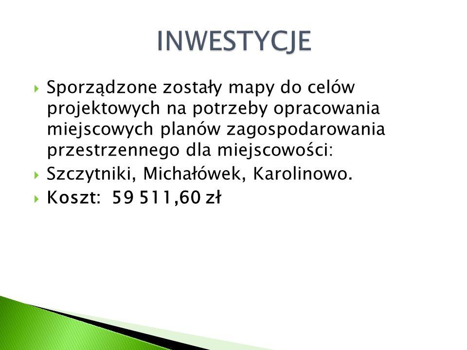  Sporządzone zostały mapy do celów projektowych na potrzeby opracowania miejscowych planów zagospodarowania przestrzennego dla miejscowości:  Szczytniki, Michałówek, Karolinowo.