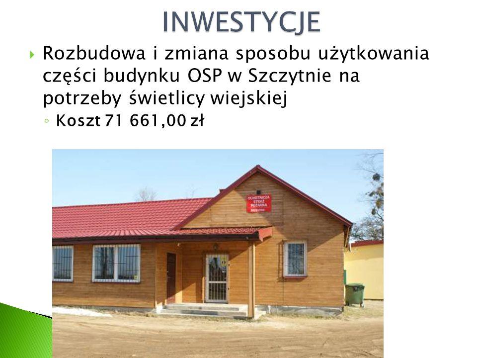 Rozbudowa i zmiana sposobu użytkowania części budynku OSP w Szczytnie na potrzeby świetlicy wiejskiej ◦ Koszt 71 661,00 zł