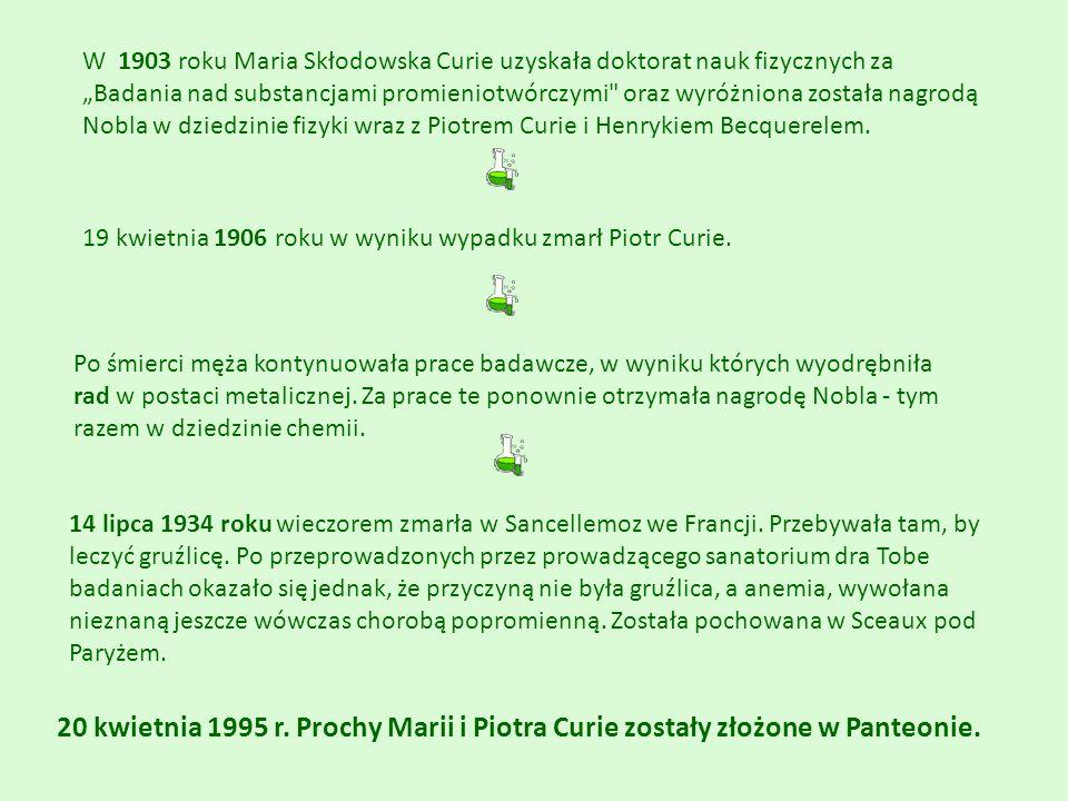 """W 1903 roku Maria Skłodowska Curie uzyskała doktorat nauk fizycznych za """"Badania nad substancjami promieniotwórczymi"""