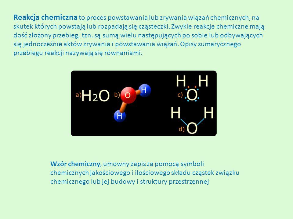 Reakcja chemiczna to proces powstawania lub zrywania wiązań chemicznych, na skutek których powstają lub rozpadają się cząsteczki.