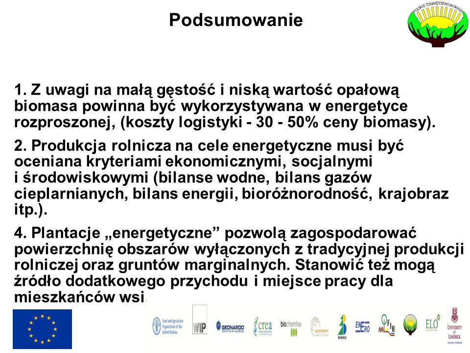 Podsumowanie 1. Z uwagi na małą gęstość i niską wartość opałową biomasa powinna być wykorzystywana w energetyce rozproszonej, (koszty logistyki - 30 -