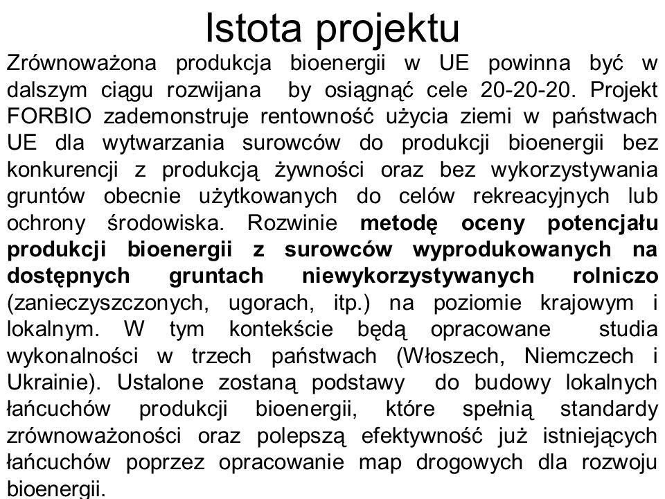 Istota projektu Zrównoważona produkcja bioenergii w UE powinna być w dalszym ciągu rozwijana by osiągnąć cele 20-20-20. Projekt FORBIO zademonstruje r