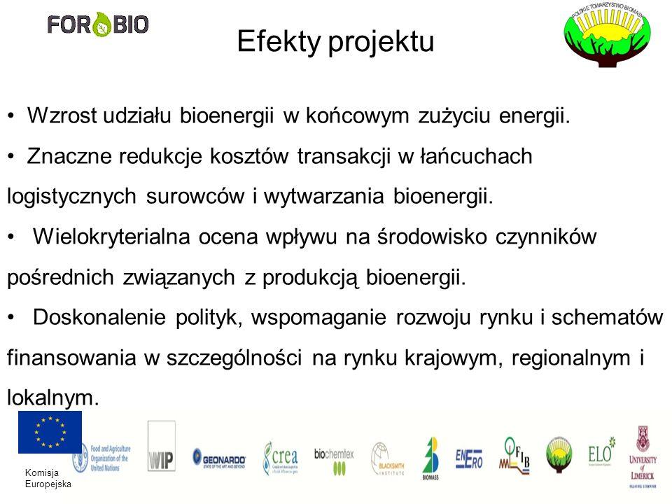 Komisja Europejska Efekty projektu Wzrost udziału bioenergii w końcowym zużyciu energii. Znaczne redukcje kosztów transakcji w łańcuchach logistycznyc