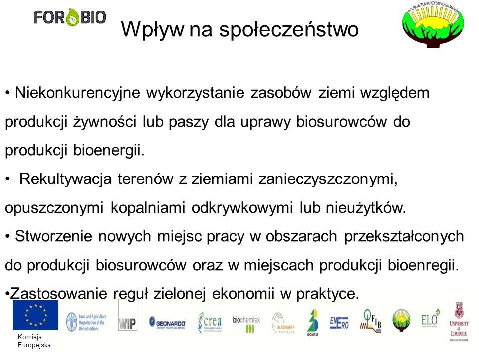 Komisja Europejska Wpływ na społeczeństwo Niekonkurencyjne wykorzystanie zasobów ziemi względem produkcji żywności lub paszy dla uprawy biosurowców do