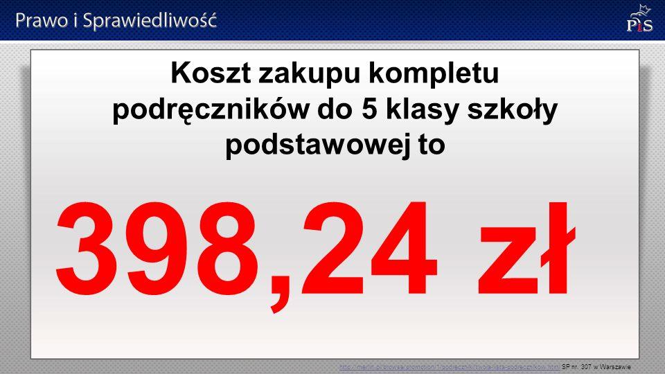Koszt zakupu kompletu podręczników do 5 klasy szkoły podstawowej to 398,24 zł http://merlin.pl/browse/promotion/1/podreczniki/twoja-lista-podrecznikow