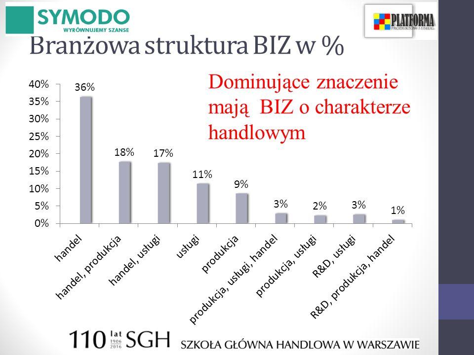 Branżowa struktura BIZ w %
