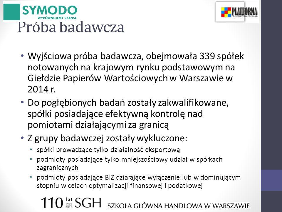 Próba badawcza Wyjściowa próba badawcza, obejmowała 339 spółek notowanych na krajowym rynku podstawowym na Giełdzie Papierów Wartościowych w Warszawie w 2014 r.
