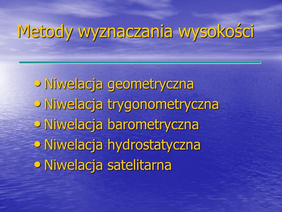 Metody wyznaczania wysokości Niwelacja geometryczna Niwelacja geometryczna Niwelacja trygonometryczna Niwelacja trygonometryczna Niwelacja barometrycz
