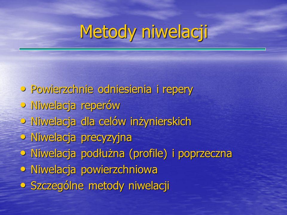 Metody niwelacji Powierzchnie odniesienia i repery Powierzchnie odniesienia i repery Niwelacja reperów Niwelacja reperów Niwelacja dla celów inżyniers