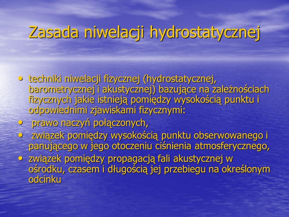 Zasada niwelacji hydrostatycznej techniki niwelacji fizycznej (hydrostatycznej, barometrycznej i akustycznej) bazujące na zależnościach fizycznych jak