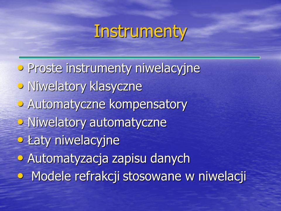 Instrumenty Proste instrumenty niwelacyjne Proste instrumenty niwelacyjne Niwelatory klasyczne Niwelatory klasyczne Automatyczne kompensatory Automaty
