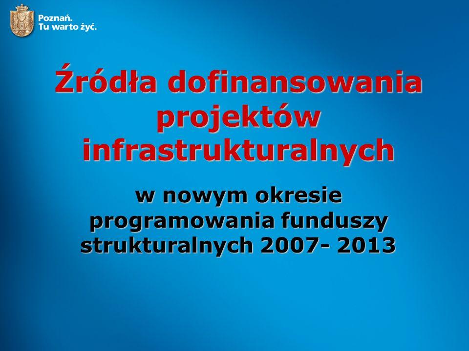 Podstawowe źródła dofinansowania na lata 2007- 2013 Program Operacyjny Infrastruktura i Środowisko Wielkopolski Regionalny Program Operacyjny Mechanizm Finansowy EOG oraz Norweski Mechanizm Finansowy