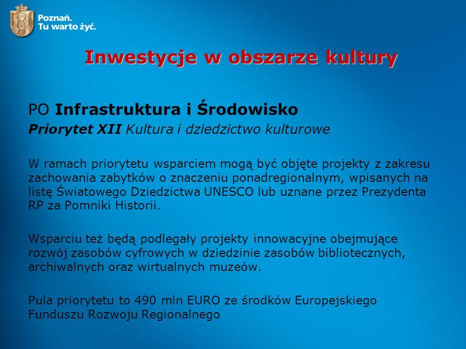 Inwestycje w obszarze kultury PO Infrastruktura i Środowisko Priorytet XII Kultura i dziedzictwo kulturowe W ramach priorytetu wsparciem mogą być obję