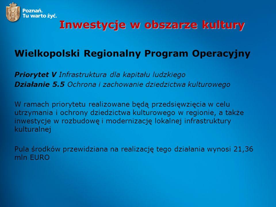 Inwestycje w obszarze kultury Wielkopolski Regionalny Program Operacyjny Priorytet V Infrastruktura dla kapitału ludzkiego Działanie 5.5 Ochrona i zac