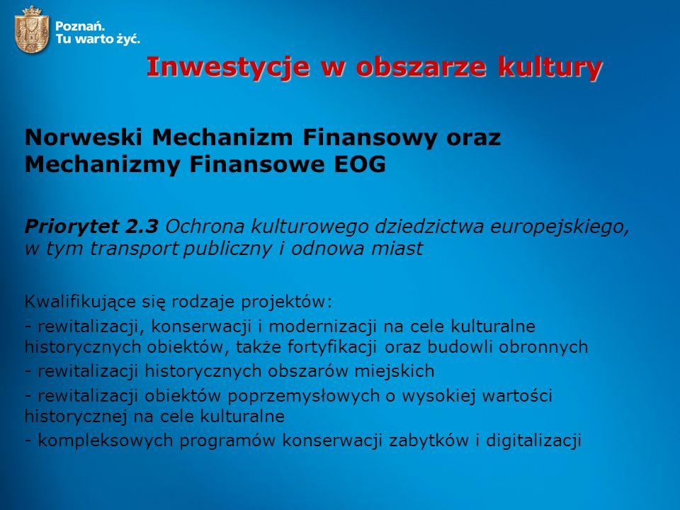 Inwestycje w obszarze kultury Norweski Mechanizm Finansowy oraz Mechanizmy Finansowe EOG Priorytet 2.3 Ochrona kulturowego dziedzictwa europejskiego,
