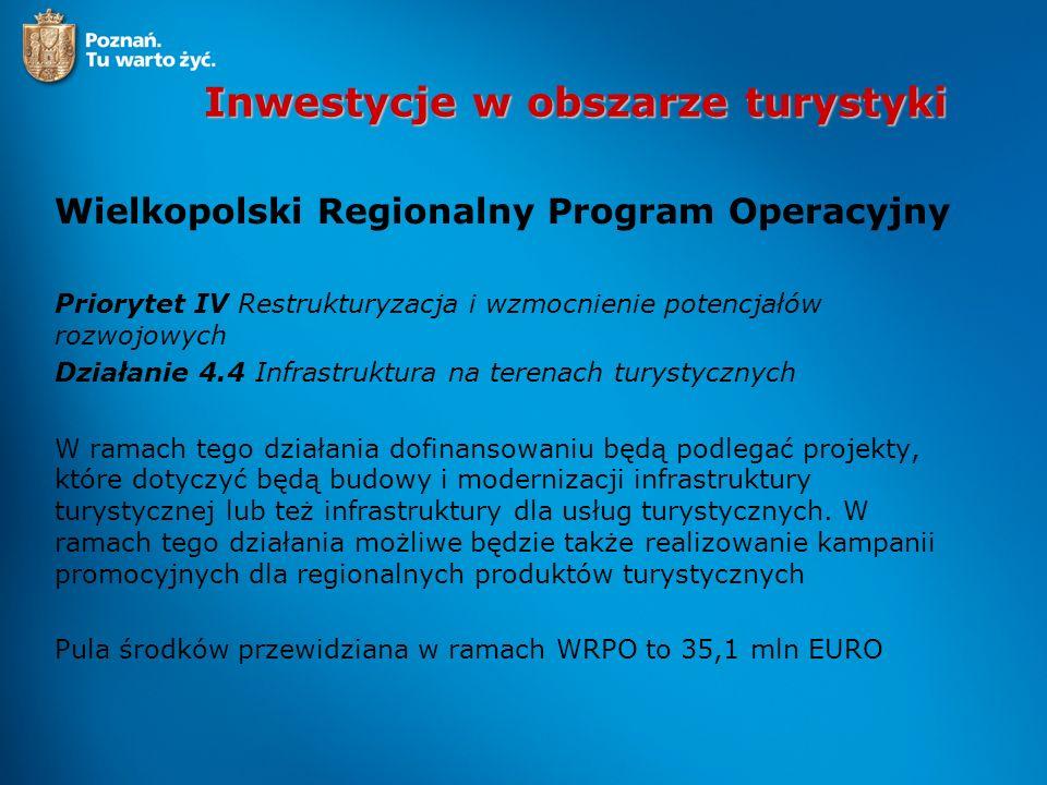 Inwestycje w obszarze turystyki Wielkopolski Regionalny Program Operacyjny Priorytet IV Restrukturyzacja i wzmocnienie potencjałów rozwojowych Działan