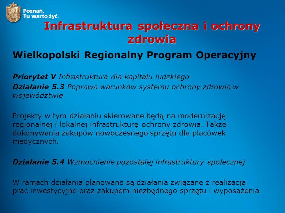 Infrastruktura społeczna i ochrony zdrowia Wielkopolski Regionalny Program Operacyjny Priorytet V Infrastruktura dla kapitału ludzkiego Działanie 5.3