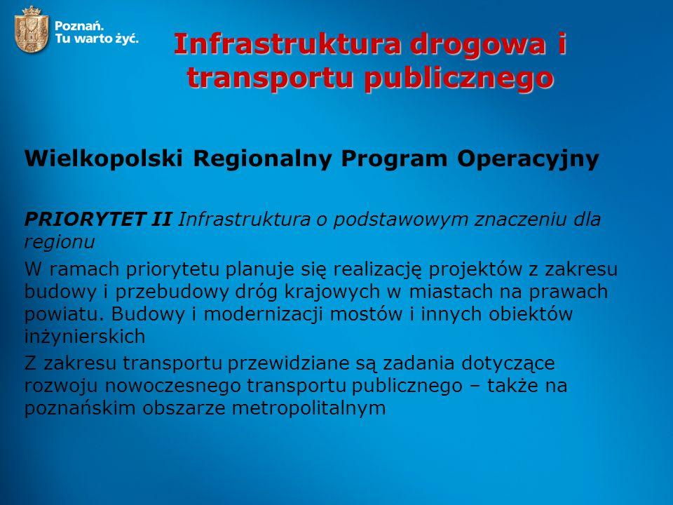 Infrastruktura drogowa i transportu publicznego Wielkopolski Regionalny Program Operacyjny PRIORYTET II INFRASTRUKTURA O PODSTAWOWYM ZNACZENIU DLA ROZWOJU 407,84 2.1 Wzmocnienie regionalnego układu powiązań drogowych 117,170 2.2 Poprawa dostępności do regionalnego i ponadregionalnego układu drogowego 76,821 2.3 Modernizacja regionalnego układu kolejowego 39,030 2.4 Tabor kolejowy dla regionalnych przewozów pasażerskich 58,590 2.5 Rozwój miejskiego transportu zbiorowego 22,330 2.6 Rozwój regionalnej infrastruktury lotniczej 13,440 2.7 Infrastruktura społeczeństwa informacyjnego 80,460