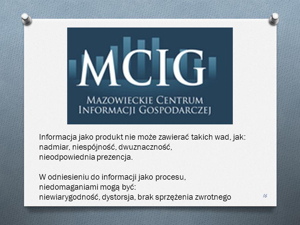 Informacja jako produkt nie może zawierać takich wad, jak: nadmiar, niespójność, dwuznaczność, nieodpowiednia prezencja.