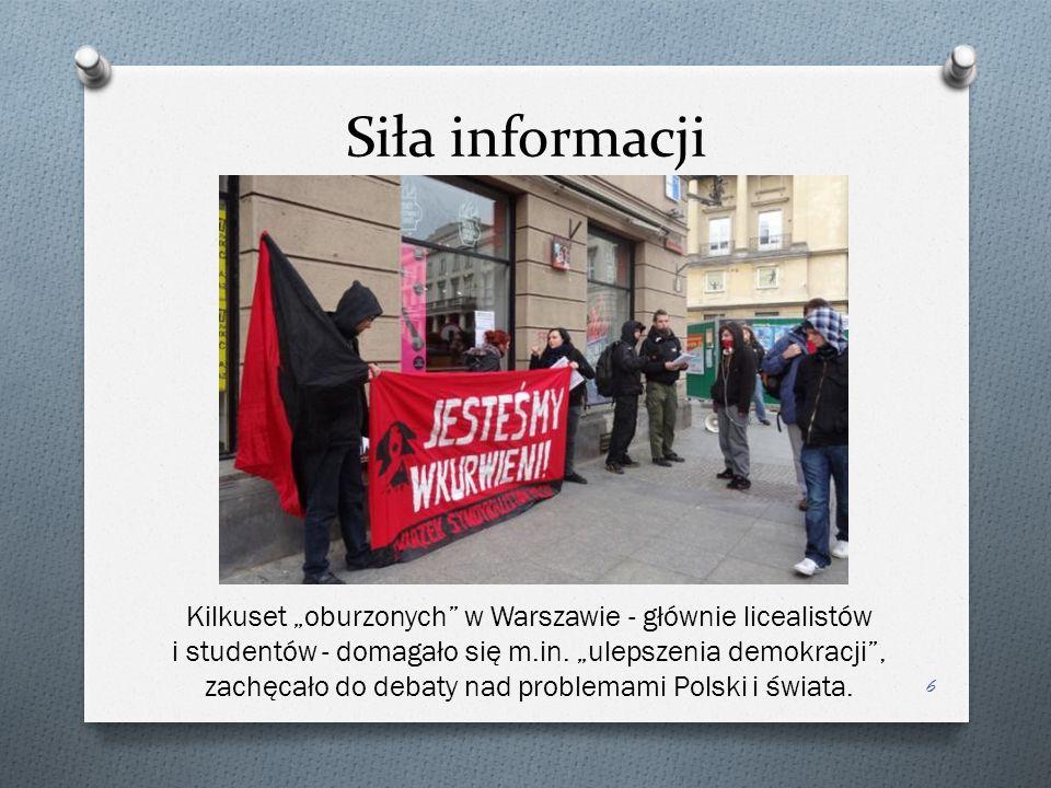"""Siła informacji 6 Kilkuset """"oburzonych w Warszawie - głównie licealistów i studentów - domagało się m.in."""