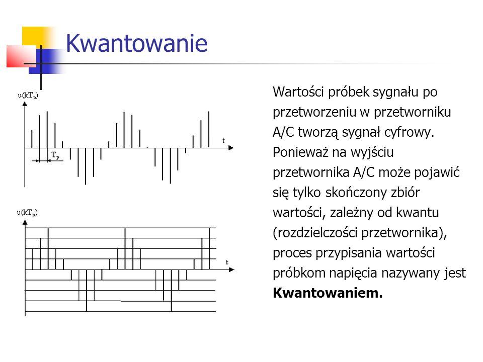 Kwantowanie Wartości próbek sygnału po przetworzeniu w przetworniku A/C tworzą sygnał cyfrowy.
