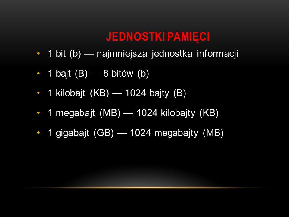 JEDNOSTKI PAMIĘCI 1 bit (b) — najmniejsza jednostka informacji 1 bajt (B) — 8 bitów (b) 1 kilobajt (KB) — 1024 bajty (B) 1 megabajt (MB) — 1024 kilobajty (KB) 1 gigabajt (GB) — 1024 megabajty (MB)