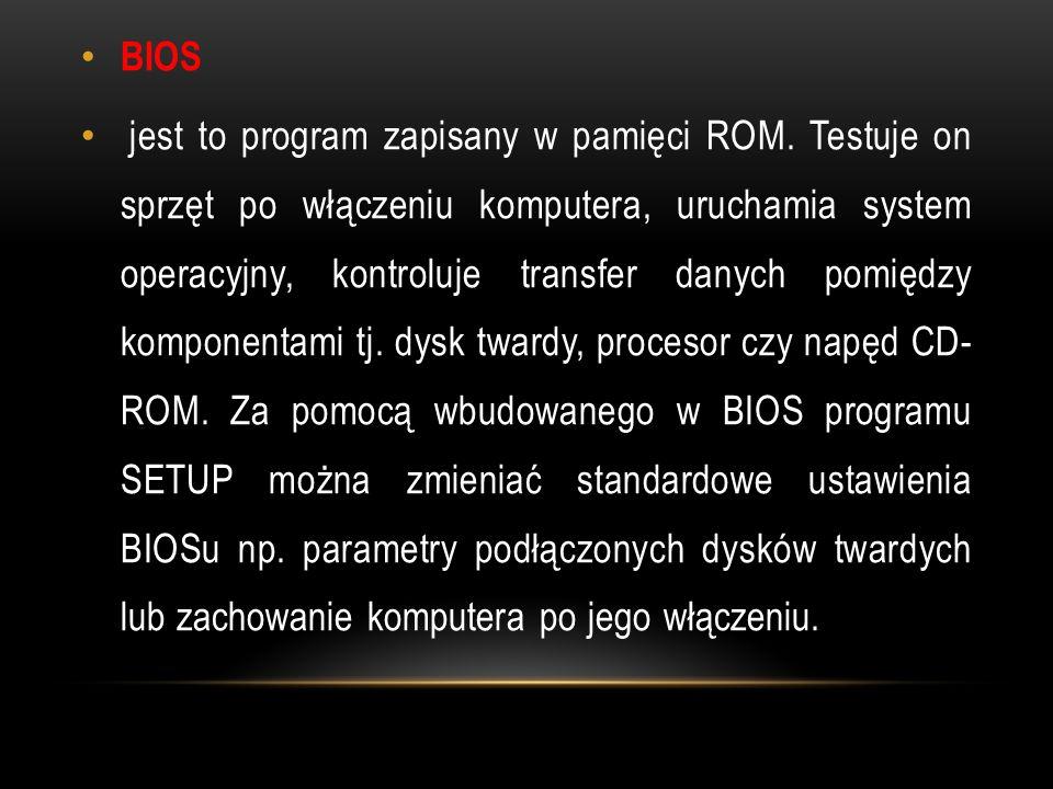 BIOS jest to program zapisany w pamięci ROM.