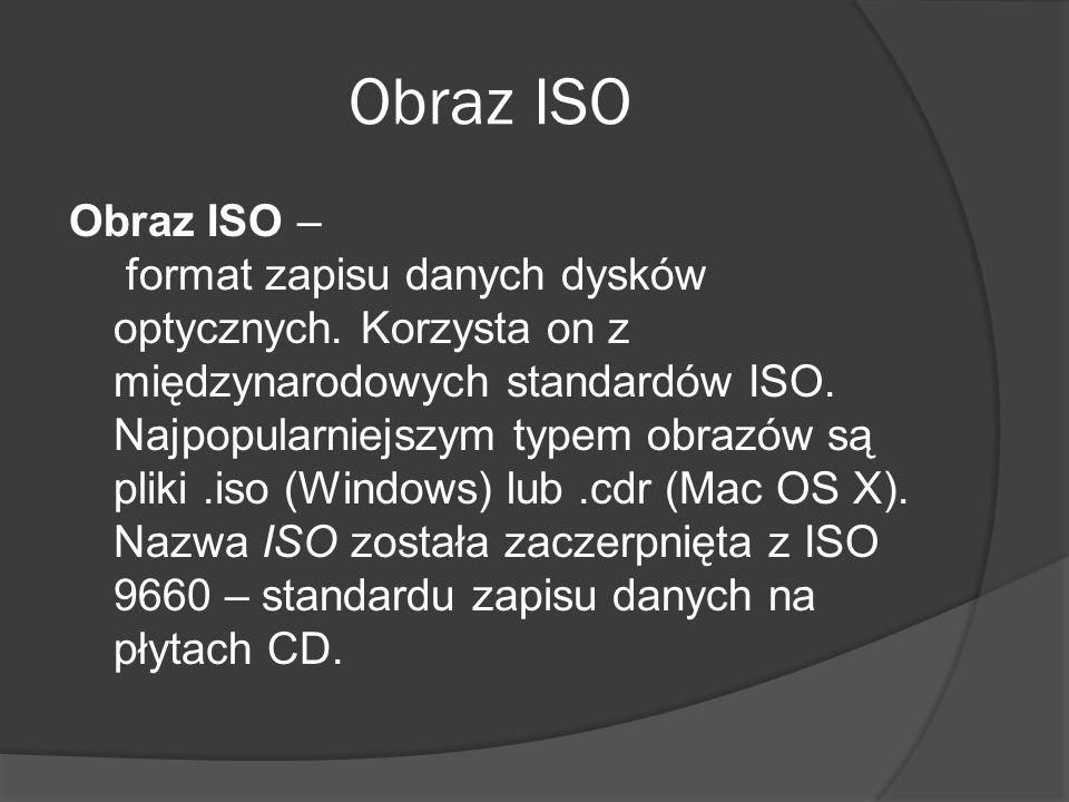 Obraz ISO Obraz ISO – format zapisu danych dysków optycznych.