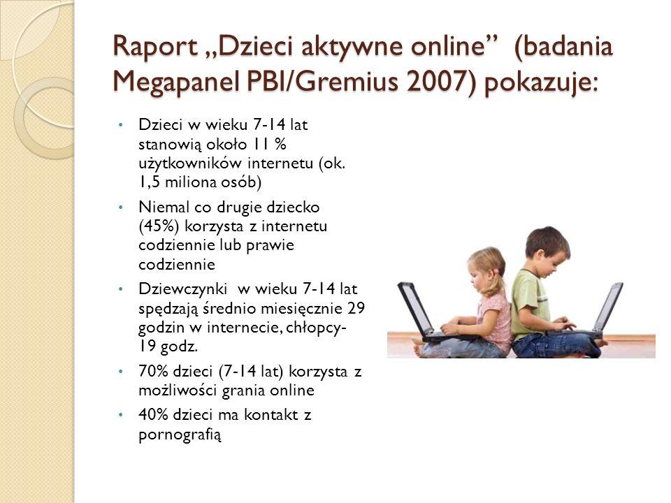 """Raport """"Dzieci aktywne online (badania Megapanel PBI/Gremius 2007) pokazuje: Dzieci w wieku 7-14 lat stanowią około 11 % użytkowników internetu (ok."""