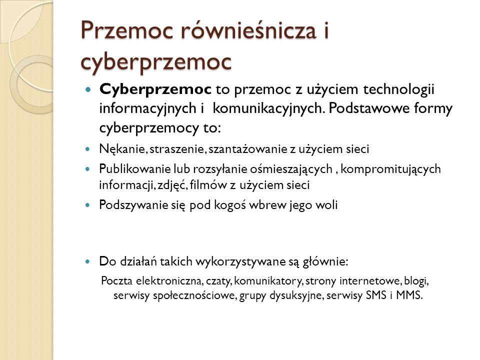 Przemoc równieśnicza i cyberprzemoc Cyberprzemoc to przemoc z użyciem technologii informacyjnych i komunikacyjnych. Podstawowe formy cyberprzemocy to: