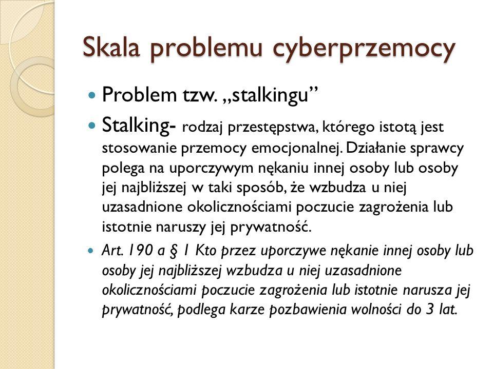 """Skala problemu cyberprzemocy Problem tzw. """"stalkingu"""" Stalking- rodzaj przestępstwa, którego istotą jest stosowanie przemocy emocjonalnej. Działanie s"""