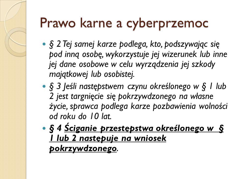 Prawo karne a cyberprzemoc § 2 Tej samej karze podlega, kto, podszywając się pod inną osobę, wykorzystuje jej wizerunek lub inne jej dane osobowe w ce