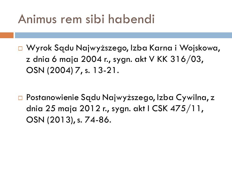 Animus rem sibi habendi  Wyrok Sądu Najwyższego, Izba Karna i Wojskowa, z dnia 6 maja 2004 r., sygn. akt V KK 316/03, OSN (2004) 7, s. 13-21.  Posta
