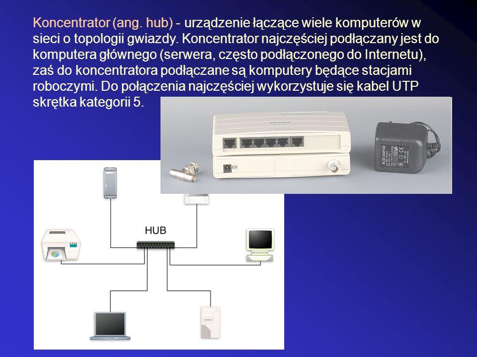 Koncentrator (ang. hub) - urządzenie łączące wiele komputerów w sieci o topologii gwiazdy.