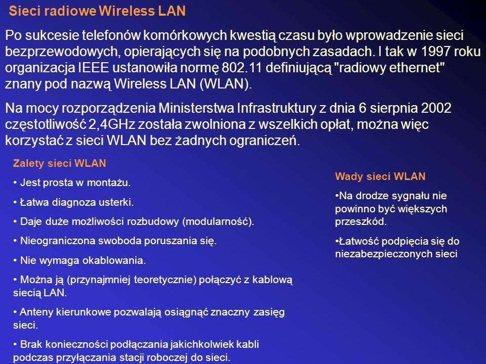 Sieci radiowe Wireless LAN Po sukcesie telefonów komórkowych kwestią czasu było wprowadzenie sieci bezprzewodowych, opierających się na podobnych zasadach.