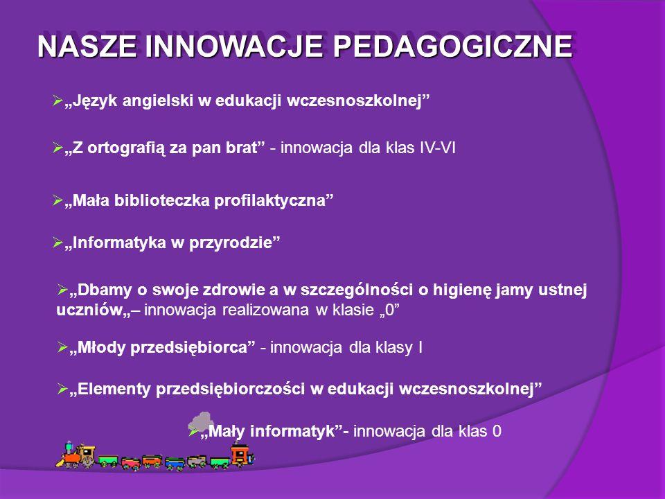 """NASZE INNOWACJE PEDAGOGICZNE  """"Język angielski w edukacji wczesnoszkolnej  """"Z ortografią za pan brat - innowacja dla klas IV-VI  """"Mała biblioteczka profilaktyczna  """"Informatyka w przyrodzie  """"Dbamy o swoje zdrowie a w szczególności o higienę jamy ustnej uczniów""""– innowacja realizowana w klasie """"0  """"Młody przedsiębiorca - innowacja dla klasy I  """"Elementy przedsiębiorczości w edukacji wczesnoszkolnej  """"Mały informatyk - innowacja dla klas 0"""