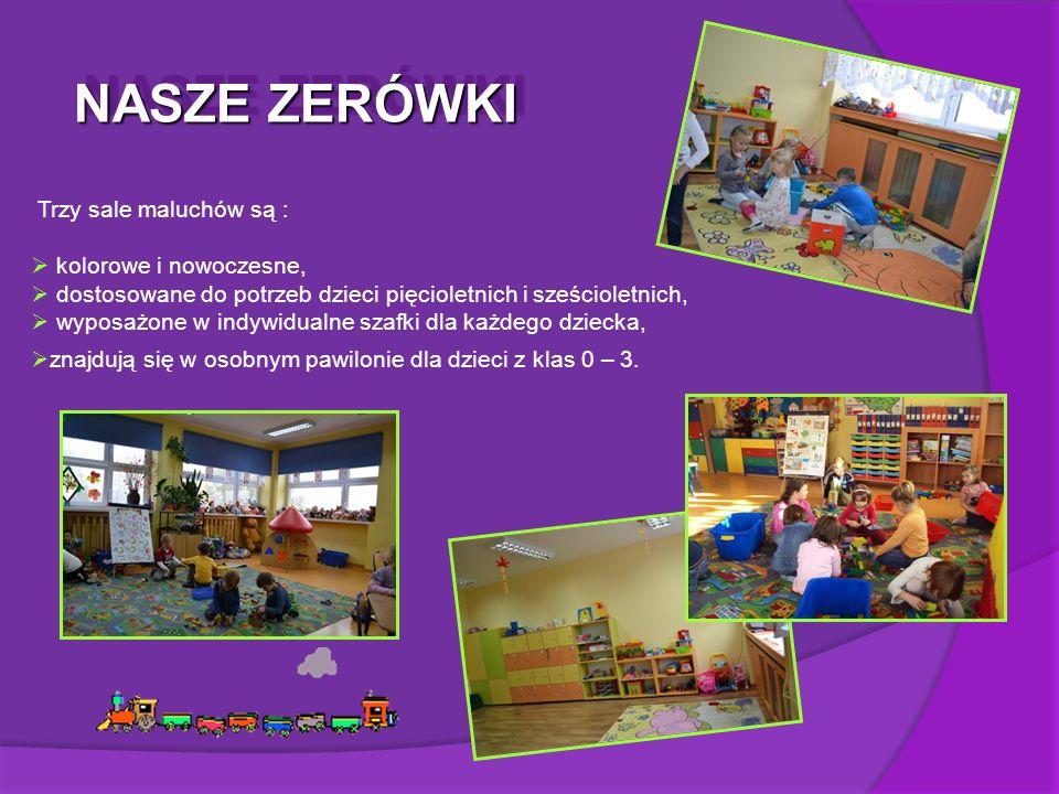 NASZE ZERÓWKI Trzy sale maluchów są :  kolorowe i nowoczesne,  dostosowane do potrzeb dzieci pięcioletnich i sześcioletnich,  wyposażone w indywidualne szafki dla każdego dziecka,  znajdują się w osobnym pawilonie dla dzieci z klas 0 – 3.